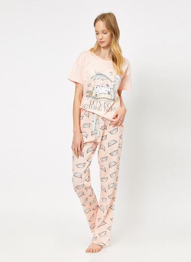 Koton Yazili Baskili Pijama Takimi Pembe